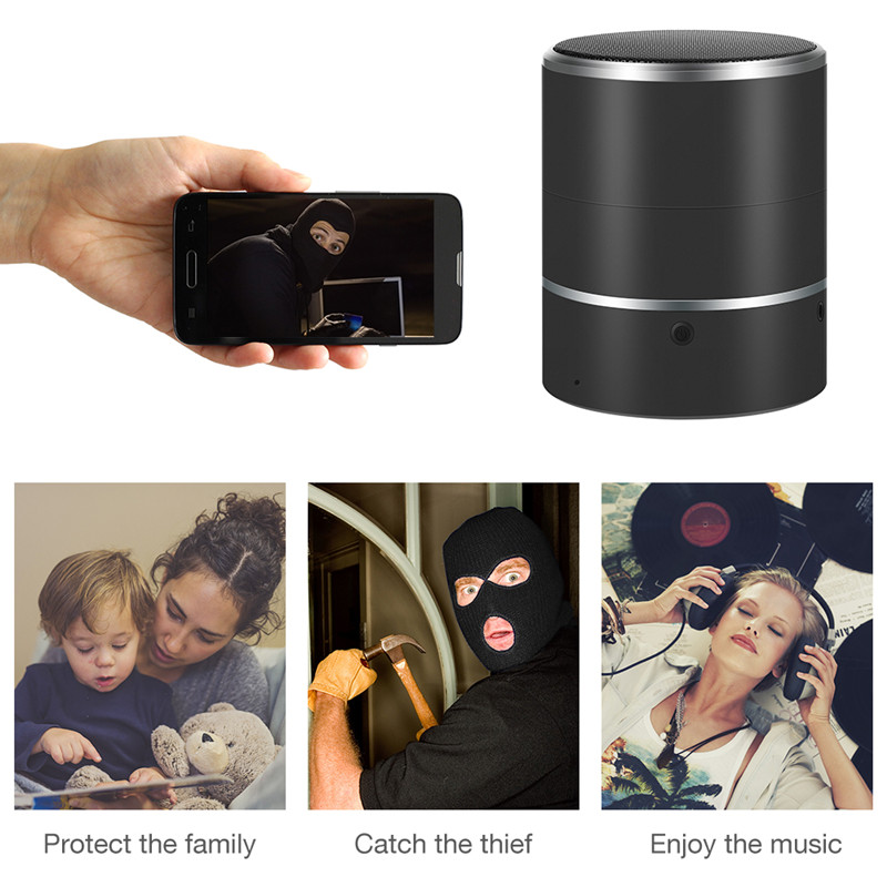 Y8S WiFi Bluetooth Speaker Camera 1080P Black