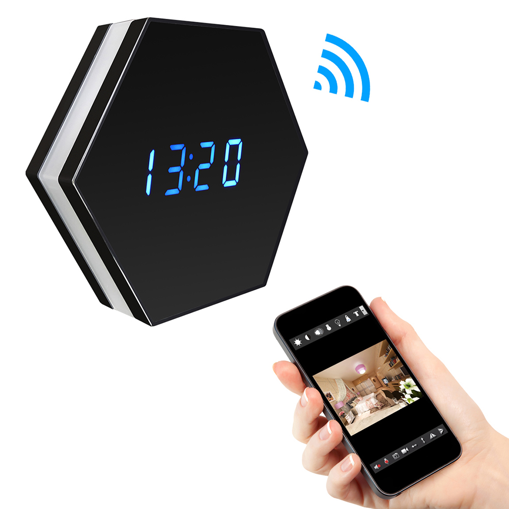 WF-Z18H 1080P WIFI Night vision Color Mirror Spy Clock