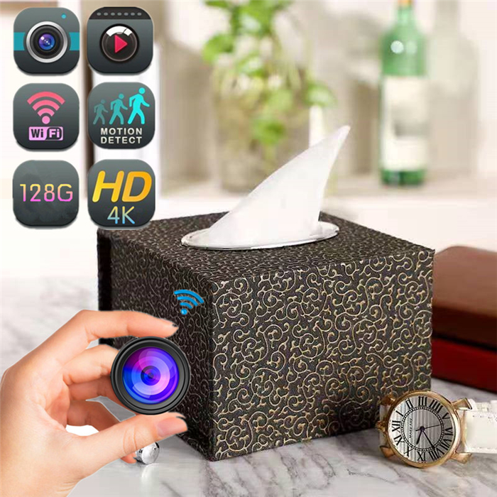 BX34 HD 4K WiFi Wireless IP Wicker Tissue Box Hidden Security Nanny Cam Spy Camera