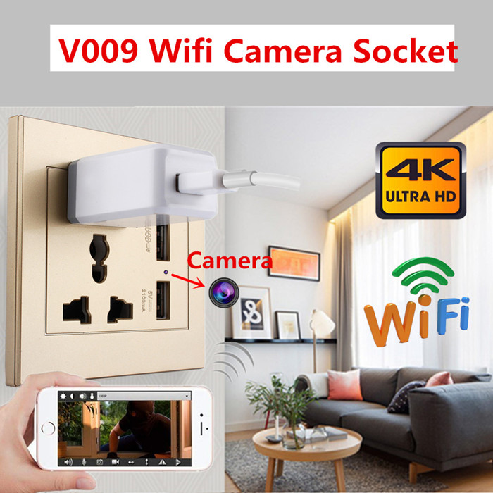 V009 Wall Outlet 4K Hidden Camera w/DVR & WiFi Remote View