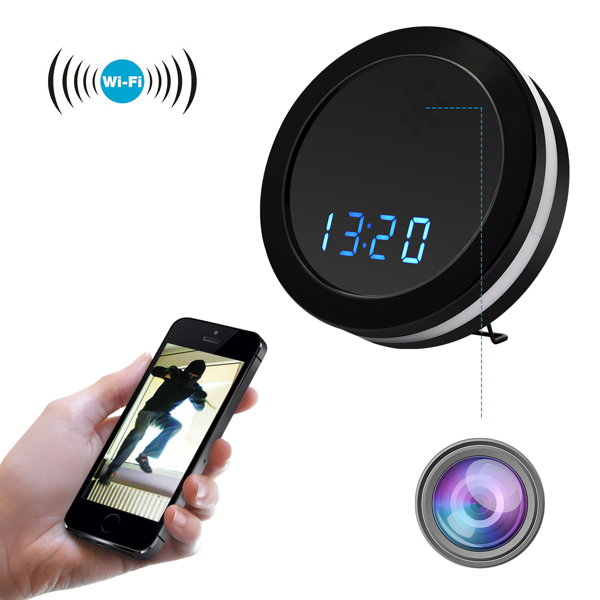 WF-Z18R Wifi 1080P HD Night Color Mirror Electronic Clock Remote Wireless Camera
